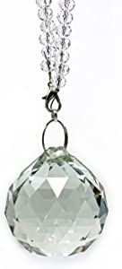 Crystal Ball Car Bling Rear View Mirror Charm, Facet K9 Crystal Sun Catcher Hanging Ornament w/Beaded Chain, Car Chandelier, Bling Car Accessories, Home Decor Ornament (Crystal Ball)