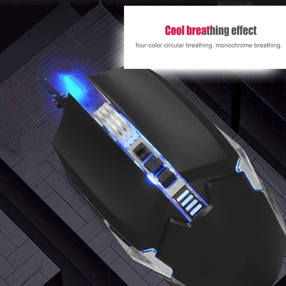 ASHATA Wired Gaming Mouse Gray Mechanical Mouse USB Wire Gaming 800-2400 DPI Free to Adjust Macro Programming Silent 7 Buttons Mechanical Gaming Mouse