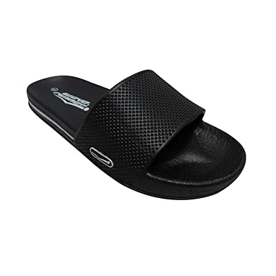 INGEAR Waverunner Slides Mens and Womens Slide Sandals Perfect for The Pool Beach Shower Lake and House (Women's 6, Black/Pink)   Sandals