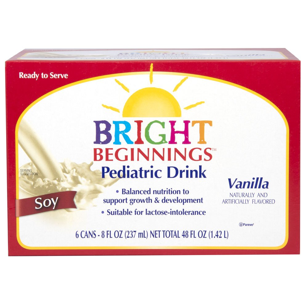 Bright Beginnings Soy Pediatric Nutritional Drink, Vanilla, 8oz Cans 6-Count, (