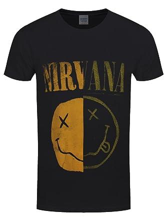 44bd2135 Nirvana Spliced Smiley T-Shirt Black: Amazon.co.uk: Clothing