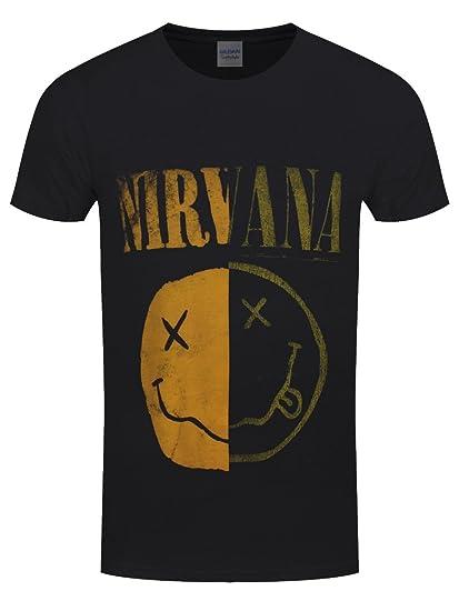 T Nevermind Log Nirvana Band Shirt Nouveau Spliced Officiel Face lFJKc1