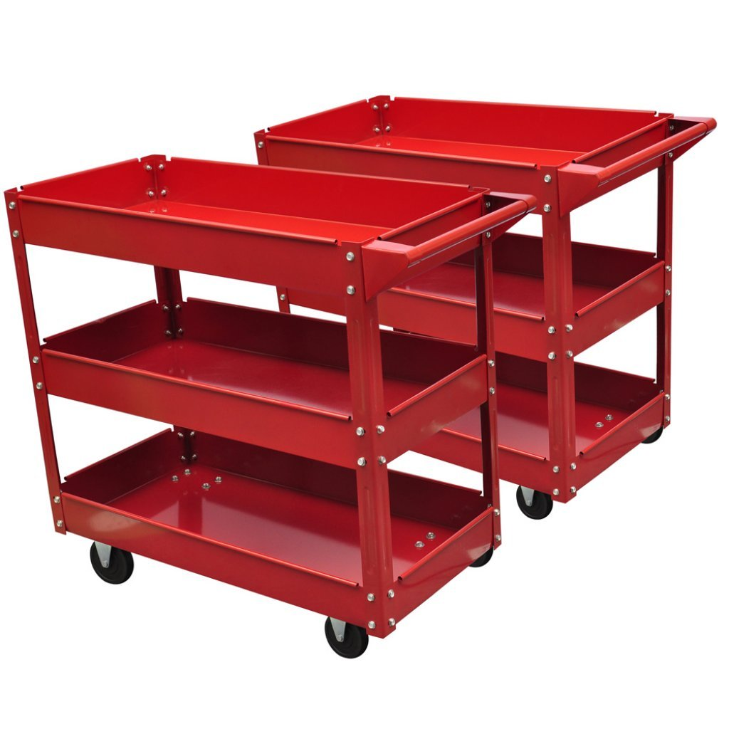 Festnight 2 Pieces Tool Trolley on Wheels with 3 Shelves Heavy Duty Garage Workshop DIY Tools Cart 220 lbs (Red)