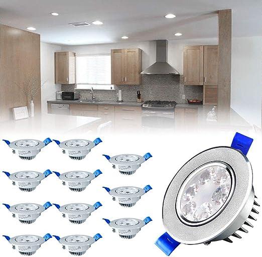 Luces encastradas Sailun 12 unidades de 3 W LED, blanco frío, plata mate, foco empotrable de techo, para el baño, iluminación interior: Amazon.es: Iluminación