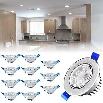 SAILUN Lot de 12 spots LED 3W Blanc Froid LED Spot Encastrable Plafonnier  Lampe Spot Spot 1716f925104b