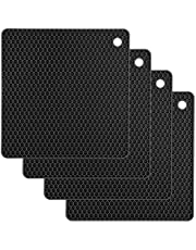 Silicone Trivet Mats CUKWILY Multifunctional Hot Pads Heat Resistant Non Slip Larger Thicker Hot Pot Holder 4 Packs