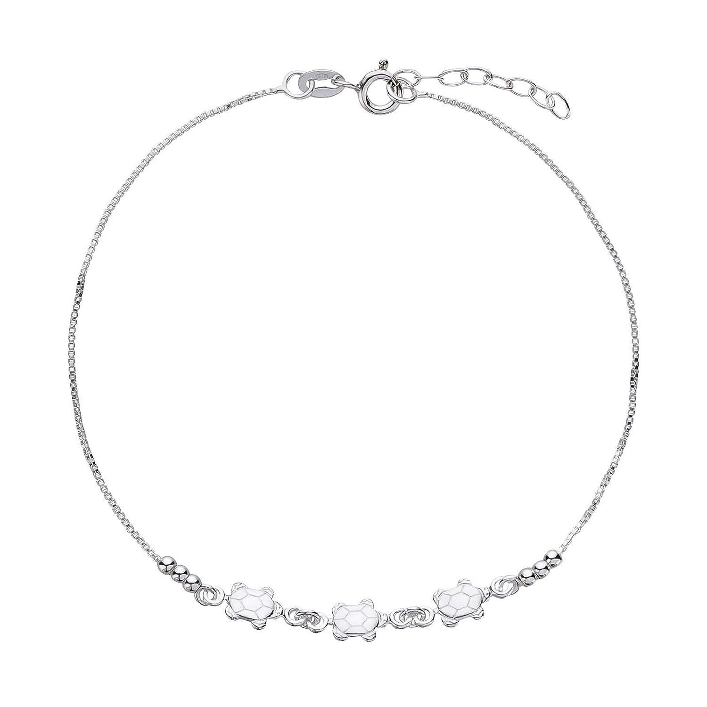 sl-silver Pied Cha/îne Cheville Tortues Longueur 23 25/cm Argent Sterling 925