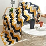 DOUH Knitted Throw Blanket 100% Cotton Cable Lightweight Throw Cover for Couch/Bed Indoor/Outdoor Cozy Throws-51x63inches