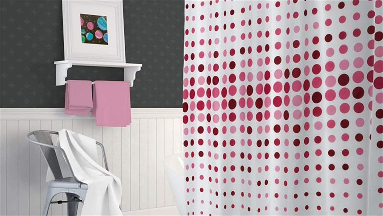 Zethome 180x200 cm Rosa Cortina de Ducha Impreso Original Antimoho Impermeable Lavable Antibacteriana Poliester Tela con Anillas de Cortina Ba/ño Estiloso Bano Moderno
