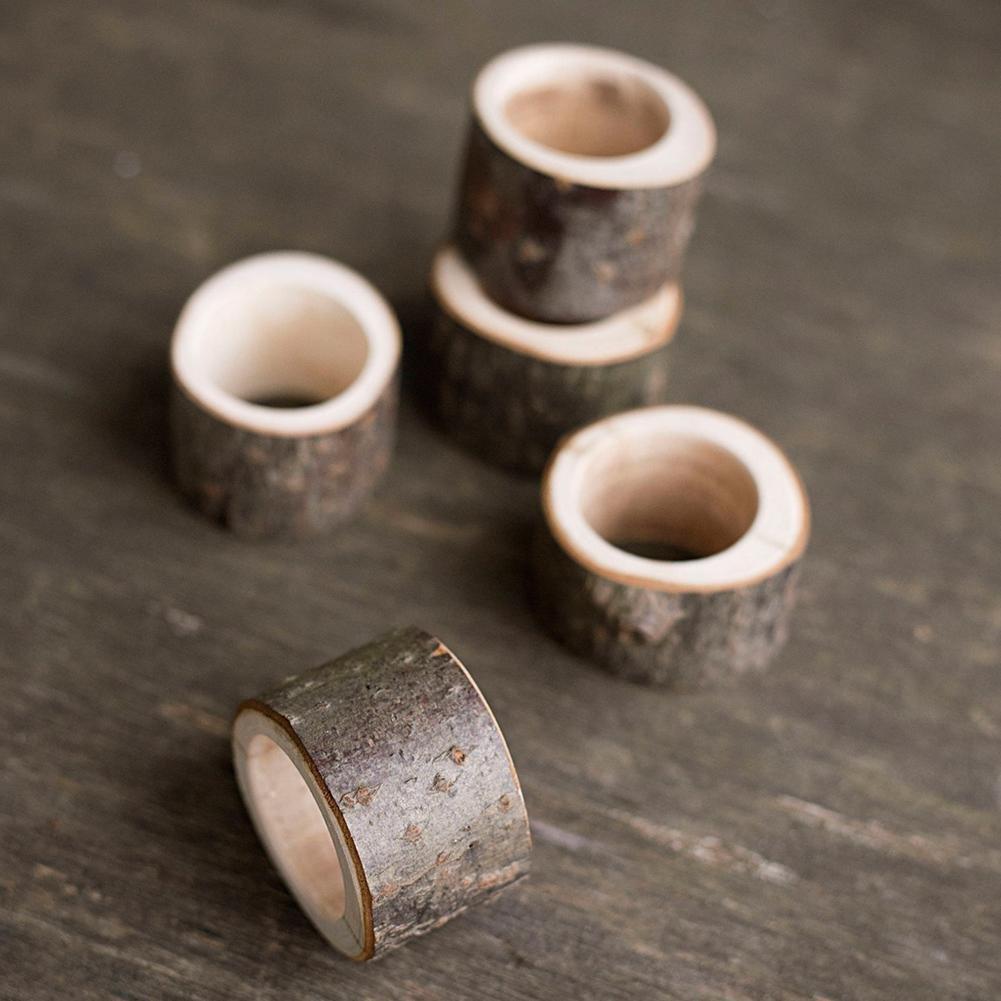 Everpert rustique en bois rond de serviette Cadeau de f/ête de mariage D/écoration de table de support pour serviettes de table