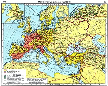 Map Of England Germany.Europe Mediaeval Commerce England Hanseatic League Germany 1956 Map
