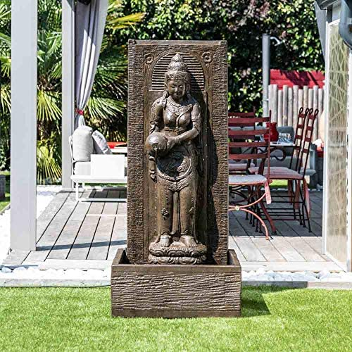Wanda collection Fuente de jardín Pared de Agua Diosa Dewi Sri 1, 50 m marrón: Amazon.es: Jardín