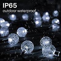 2 peças de 50 lâmpadas de LED de 91 m, globo de cristal para ambientes externos, luzes solares IP65 à prova d'água com 8…