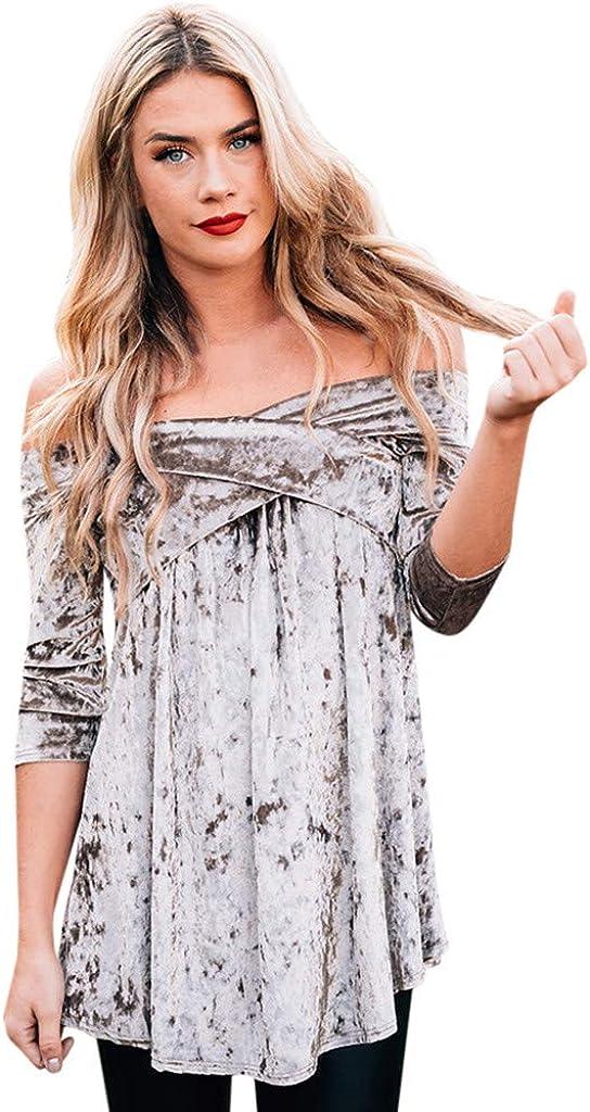 Moent Mujer Elegante Manga Larga Fuera del Hombro Terciopelo Liso Blusa Camisa, Señoras Casual Swing Swing Shirt para la Primavera: Amazon.es: Ropa y accesorios