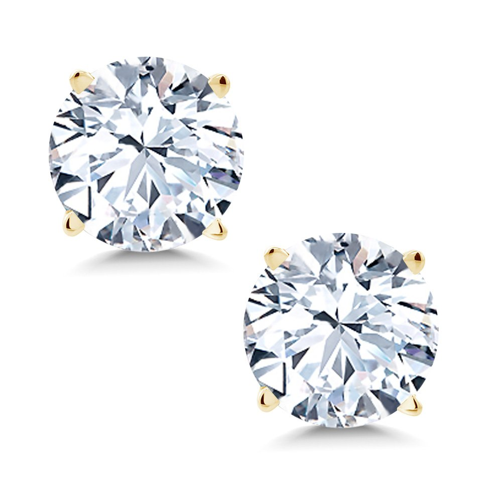 14K Yellow Gold White Created Sapphire Stud Earrings 2.40 Ctw 6MM