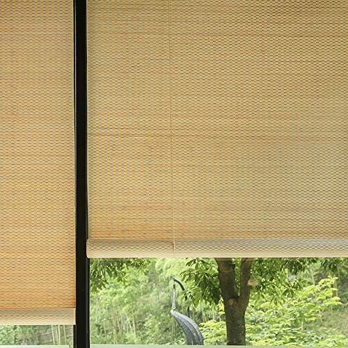 竹製ローラーブラインド、屋外パティオパーティションブラックアウトレトロローラーブラインド、ホームバルコニーオフィスプライバシーカーテン にカスタマイズ可能ZDDAB