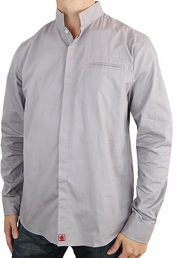 Sinologie - Camisa con Cuello Mao Oficial de poleina de algodón, Color Gris: Amazon.es: Ropa y accesorios