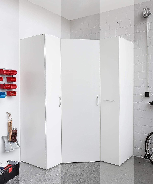 lifestyle4living Eckschrank in wei/ß Stauraumschrank auch f/ür Garagen und Keller begehbarer Kleiderschrank