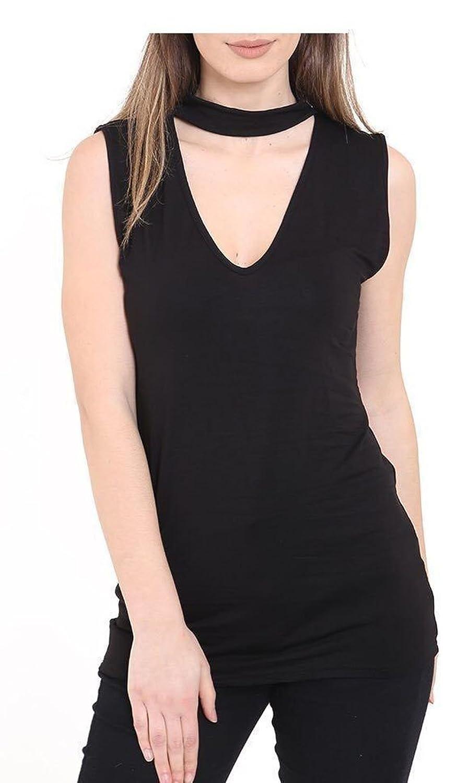 a840259d828 ZET New Womens Ladies High Choker V Neck Collar Cut Out Plunge Blouse Shirt  Vest Top Plus Size UK 8-26  Amazon.co.uk  Clothing