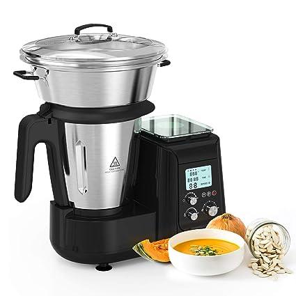 Robot de Cocina, Batidora, Soup Maker Multifuncional MLITER, Picadora Vaporera Acero Inoxidable,