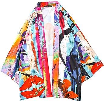 Camisa Kimono Hippie Cloak Hombre Estilo Japonés Estampado Holgado Manga 3/4 Cardigan: Amazon.es: Ropa y accesorios