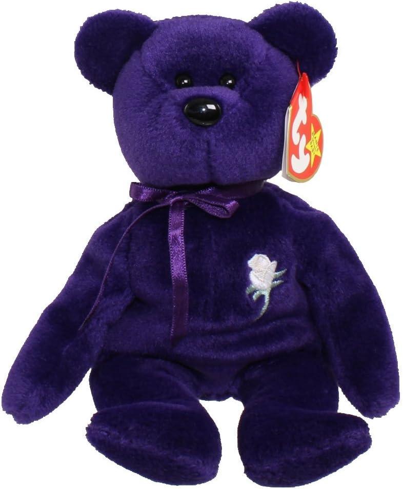 Amazon Com Ty Beanie Baby Princess The Purple Bear Pvc Made In