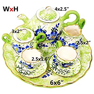 BDJ Hand Painted Ceramic Miniature Tea Party Set for Two - 10 Pieces (Size M) (Style L)