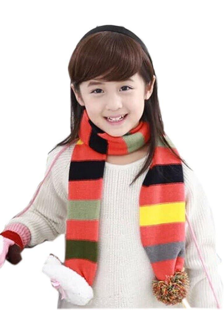 Cute Winter Warm Stripe Scarf with Rabbit For 2-8 year-old Girls Orange