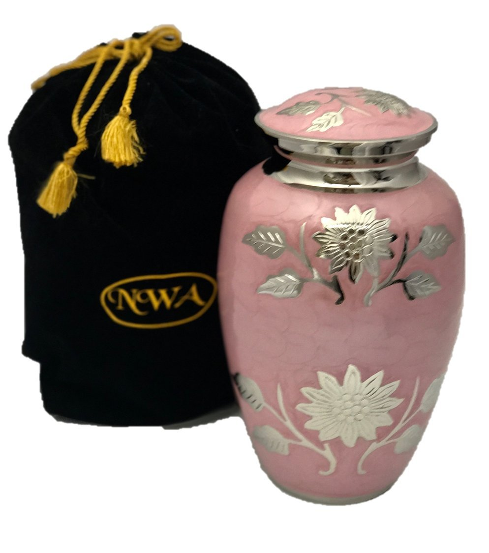 Custom Engraved Pink Adult Human Funeral Cremation Urn, Memorial Urns w/velvet bag and Personalization by NWA (Image #2)
