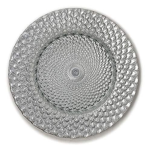 Elegant Classy Royal Shiny Silver Seashell Embossed Glass Dinnerware 13