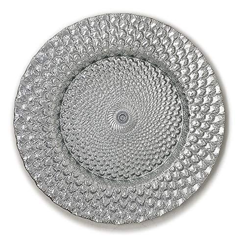 Elegant Classy Royal Shiny Silver Seashell Embossed Glass Dinnerware 13