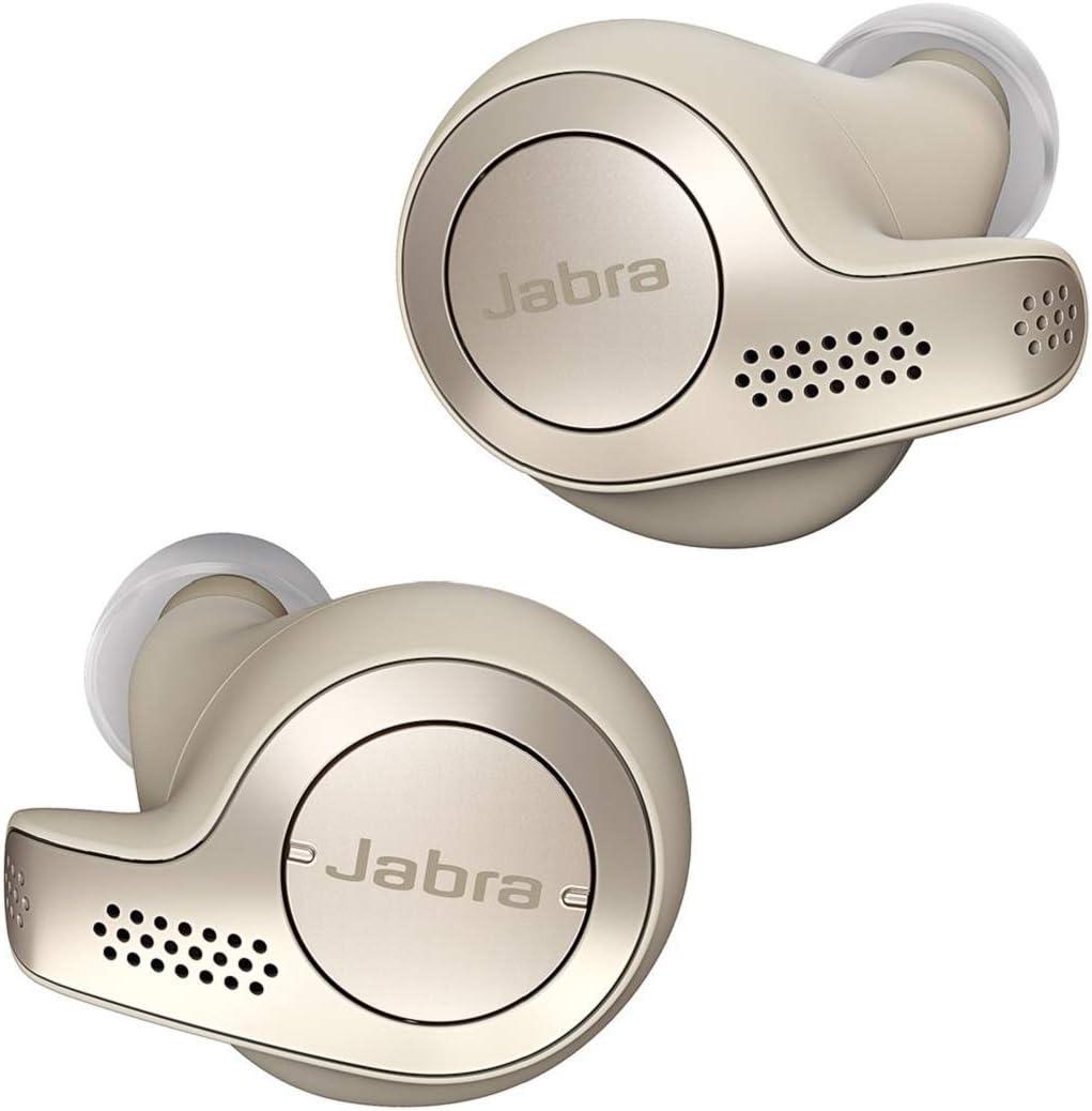 Jabra Elite 65t – Auriculares Bluetooth con Cancelación Pasiva del Ruido, Tecnología de Cuatro Micrófonos para Auténticas Llamadas Inalámbricas y Música, Beige Dorado