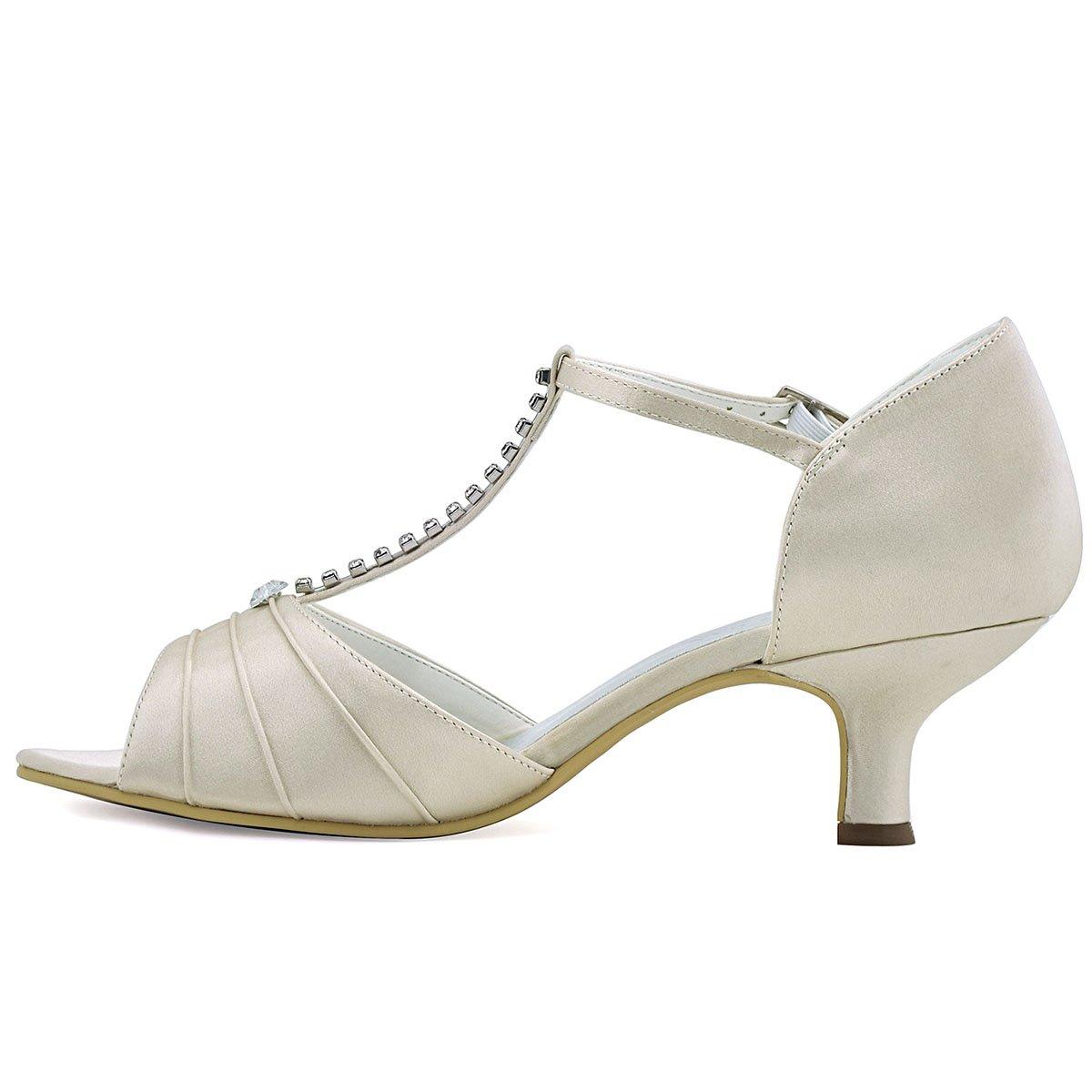 7b3ef3a0cfe99c ... ElegantPark EL-035 Women Peep Toe T-Strap Pumps Mid Heel Bridal  Rhinestones Satin ...