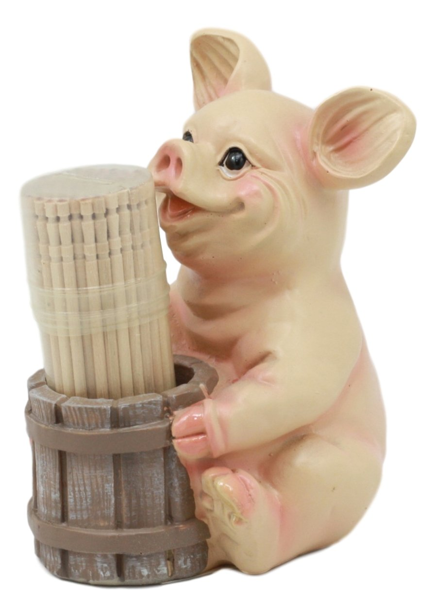 Ebros Country Farmland Barn Piglet Pig Toothpick Holder Statue 3.75''Tall With Toothpicks Babe Pig Figurine Excellent Present For Farmers Barn Animal Lovers Cute Home Kitchen Decor by Ebros Gift (Image #3)