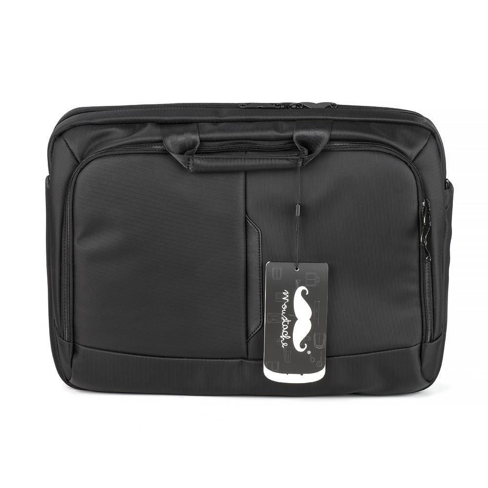 Moustache ® Anti-shock 15.6-Inch Waterproof Notebook Laptop and Tablet Bag Carry Carrying Case, with 9.7-inch iPad Sleeve Inside / Trolley Strap / Detachable Shoulder Padded Strap / Air Cell Cushion, Black