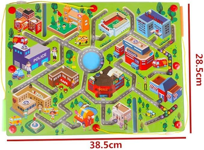 Gobus Cuentas de Madera Laberinto niños Educativo Juego de Mesa Laberinto Rompecabezas Juguetes (tráfico Urbano Verde): Amazon.es: Juguetes y juegos