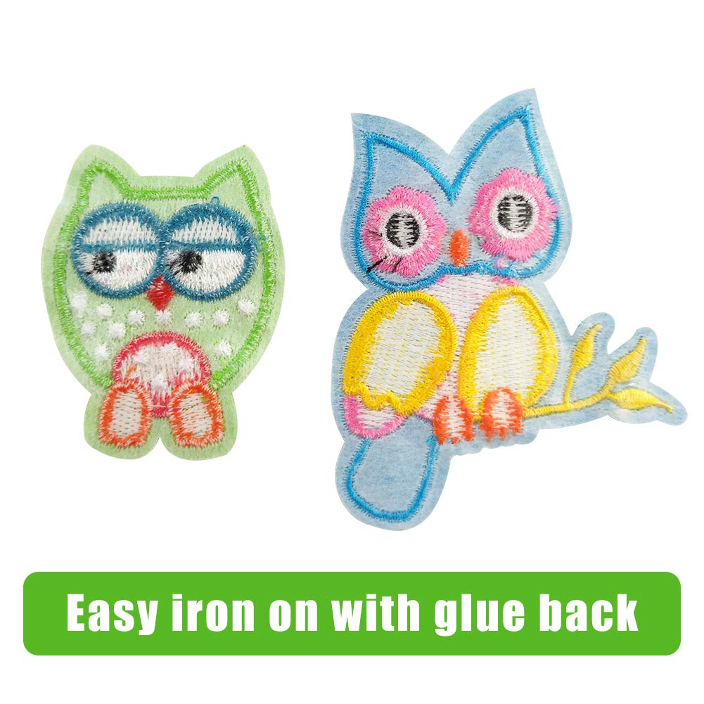 Assorted Color Applique Embroidered Badge Sew On Patch for Decor and Repair Crafts Jackets Backpacks 24 Set Owl Iron On Patches Jeans