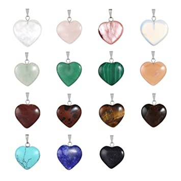 Amazon 20pcs heart shape healing crystal stone chakra quartz 20pcs heart shape healing crystal stone chakra quartz diy stone random color gemstone pendants for necklace aloadofball Image collections