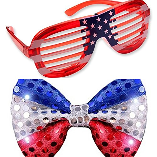 USA American Flag July 4 th LED Light Up Glasses and Bow Tie Combo]()