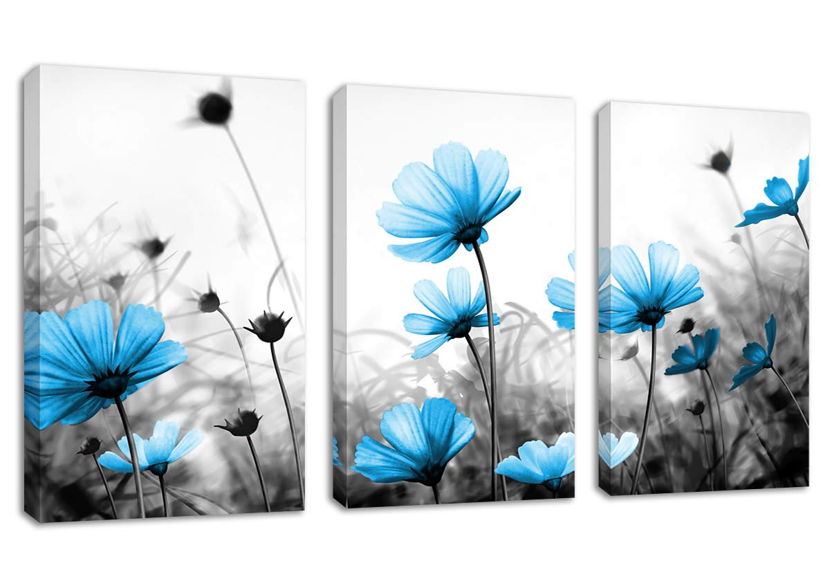 "arteWOODS Blue Flowers Canvas Wall Art Decor Wildflowers Black White Background Pictures Canvas Art Blossom Contemporary Artwork for Home Decoration Office Kitchen Wall Decor 16"" x 24"" x 3 Pieces"