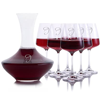 6c047c0b148 Personalized Crystal Wonder Wine Decanter with 6 Crystal/Titanium Stemmed  Cindy Glasses by Crystalize Engraved