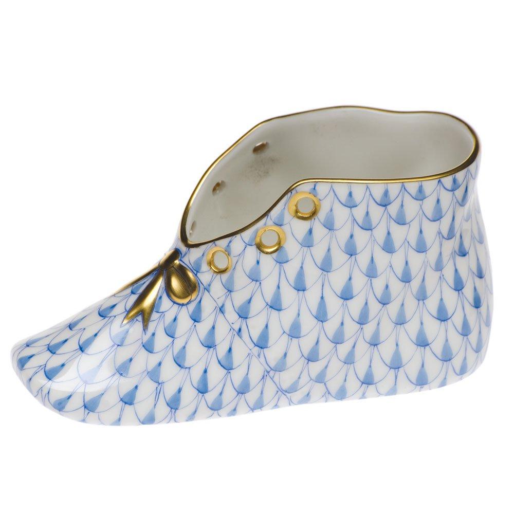 Herend Porcelain Baby Shoe Blue Fishnet