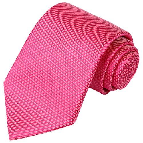 KissTies Hot Pink Tie Solid Striped Pure Color Necktie Wedding Ties - Hot Pink Necktie