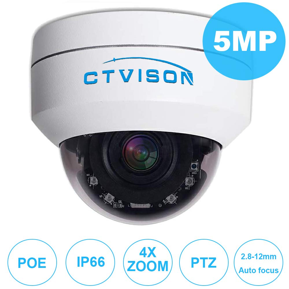 Amazon.com: CTVISON PoE PTZ Cámara de seguridad IP de 5,0 MP ...