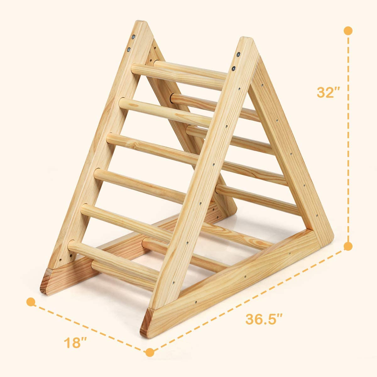 GLACER Wooden Climbing Triangle Ladder Toddler Triangle Climber with 3 Different Climbing Ladders for Kids 3 Years Old+ Indoor Playful Climbers to Develop Strength Balance and Motor Skills