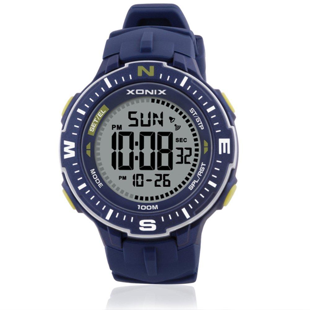 Hombre Cronómetro digital,Cronómetro cronógrafo Relojes electrónicos 100m resistente al agua Led Gran número Luminoso 24 horas Hora 12 Alarma Movimiento-B: ...