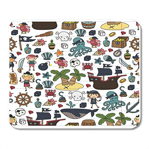 Emvency Mouse Pads Children Playing Pirates Boys and Girls Kindergarten School Preschool Halloween Party Treasure Island Mousepad 9.5