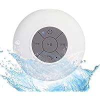 Sudroid Portable Waterproof Shower Speaker Bluetooth 3.0 with Built-in Mic Powerful for Pool Boat Beach Hiking Camping (White)