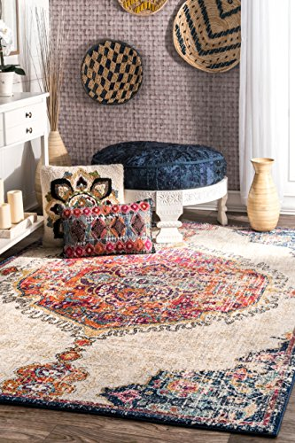 nuLOOM RZBD63A Maranda Vintage Medallion Area Rug, 8' x 10', Multi - Features a Medallion design Made of 100% polypropylene Construction: machine made - living-room-soft-furnishings, living-room, area-rugs - 61zJ0STaO1L -