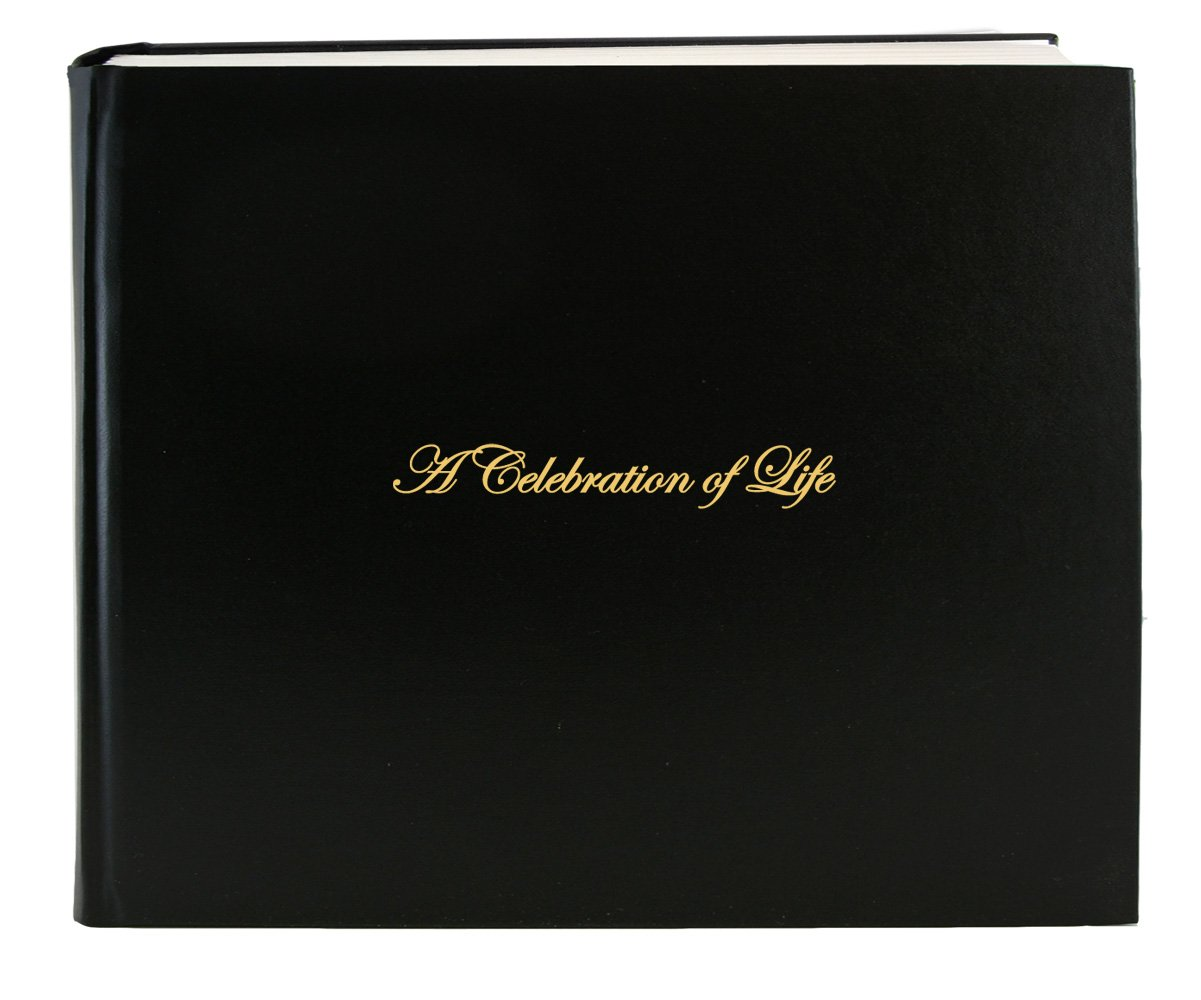 "BookFactory Leather Funeral Guest Book''A Celebration of Life'' / Memorial Book/Memorial Guest Book (48 Pages - 8 7/8'' x 7""), Black Leather, Smyth Sewn Hardbound (LOG-048-97CS-AKT64-(FUNERAL-REG))"